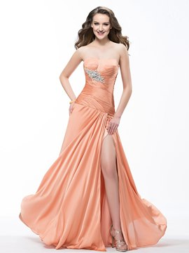 Elegant A-Line Floor Length Sweetheart Ruffles Beading Prom Dress