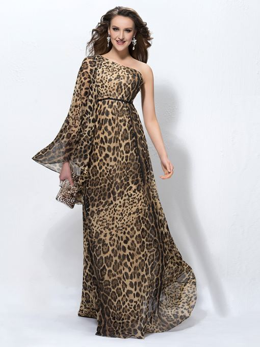 Ericdress Long Sleeve One Shoulder Leopard Print Evening Dress