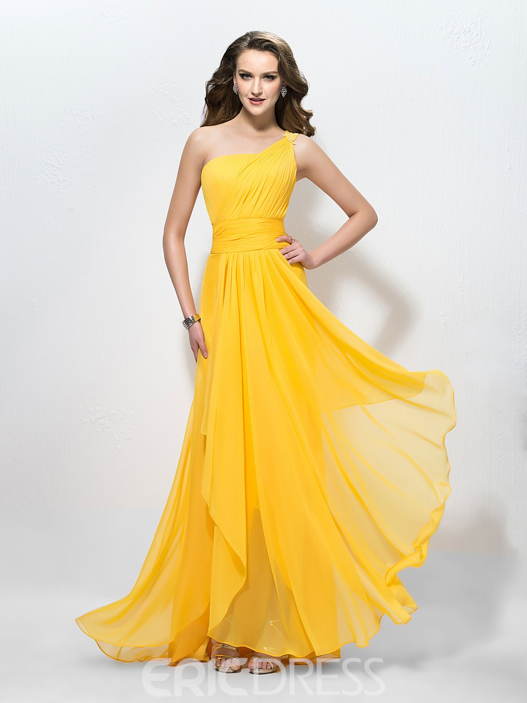 Ericdress One Shoulder A-Line Applique Long Prom Dress