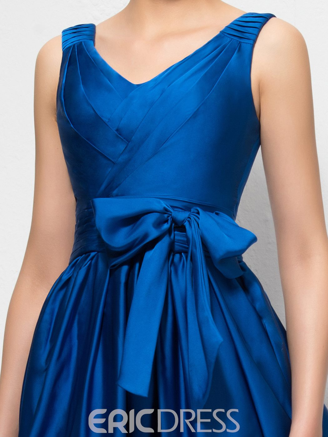 Courtlike A-line V-Neck Bowkont Zipper-Up Floor-Length Evening Dress