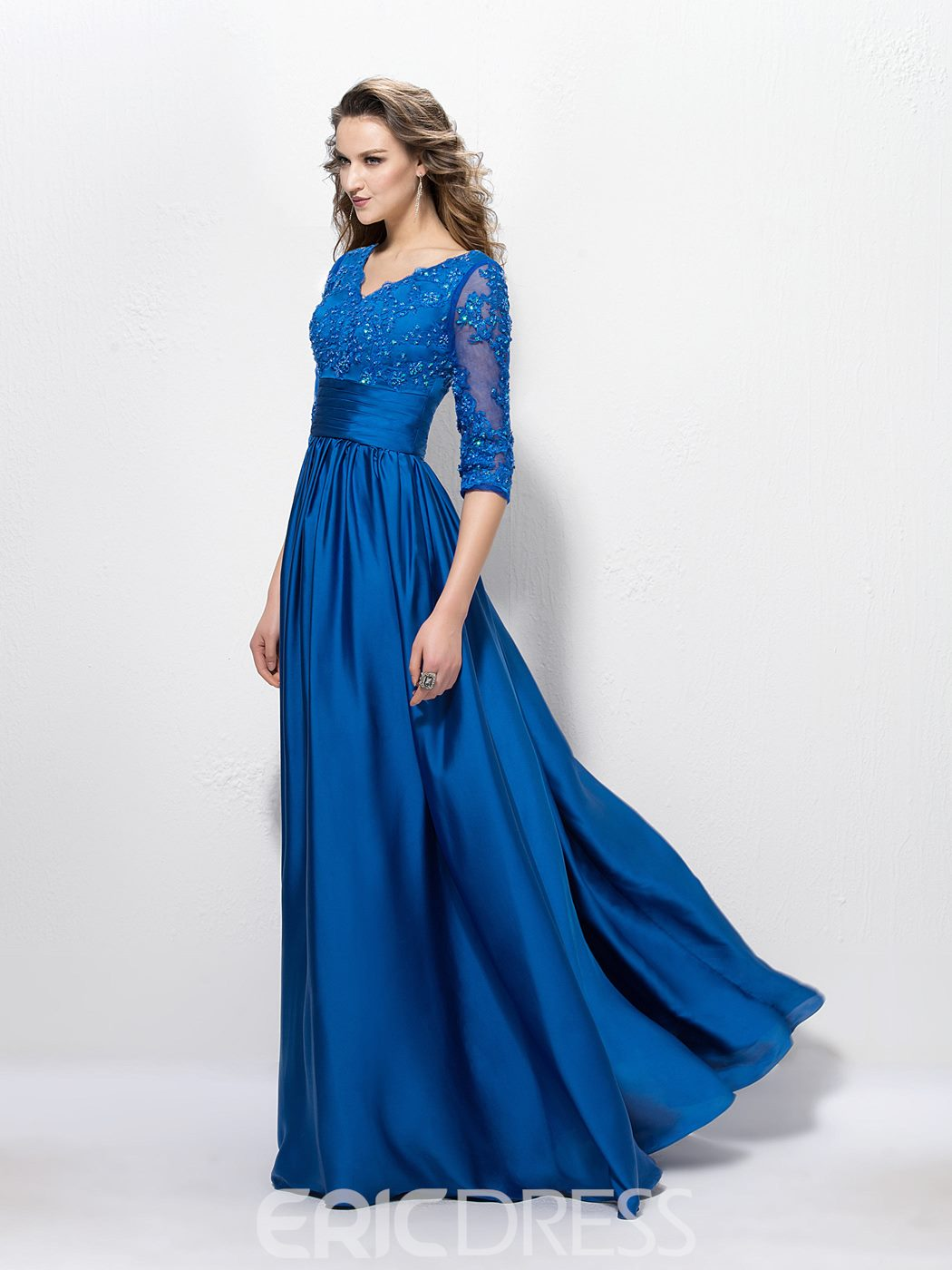 Charming V Neck A-Line Appliques Sequins Half Sleeves Floor-Length Mother of the Bride Dress