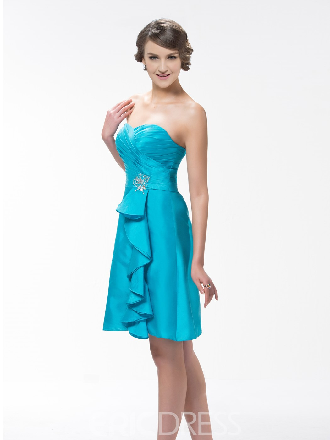 Concise A-Line Sweetheart Neck Knee-Length Bridesmaid Dress