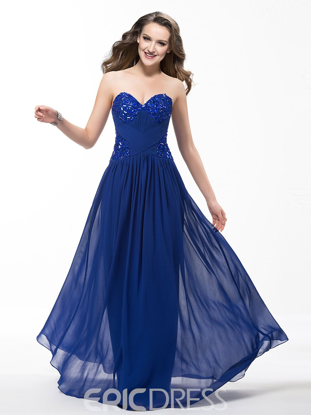 Bespoke A-Line Floor Length Sweetheart Ruffles Prom Dress