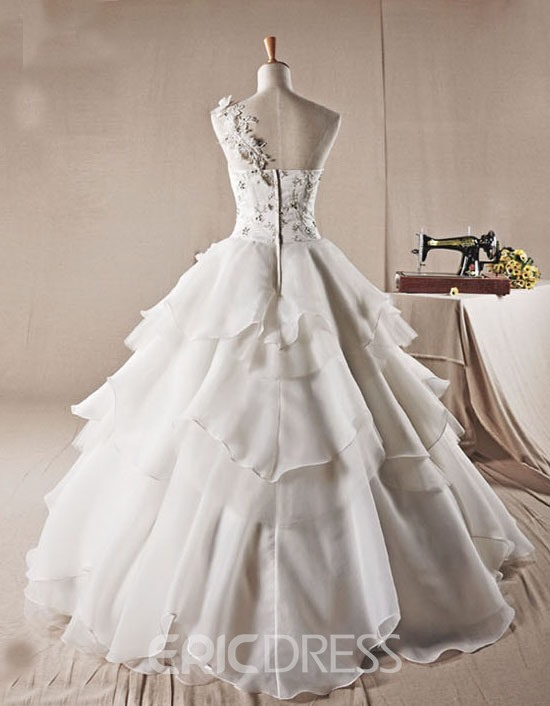 Gorgeous Ball Gown One-Shoulder Flowers Beading Charming Wedding Dress