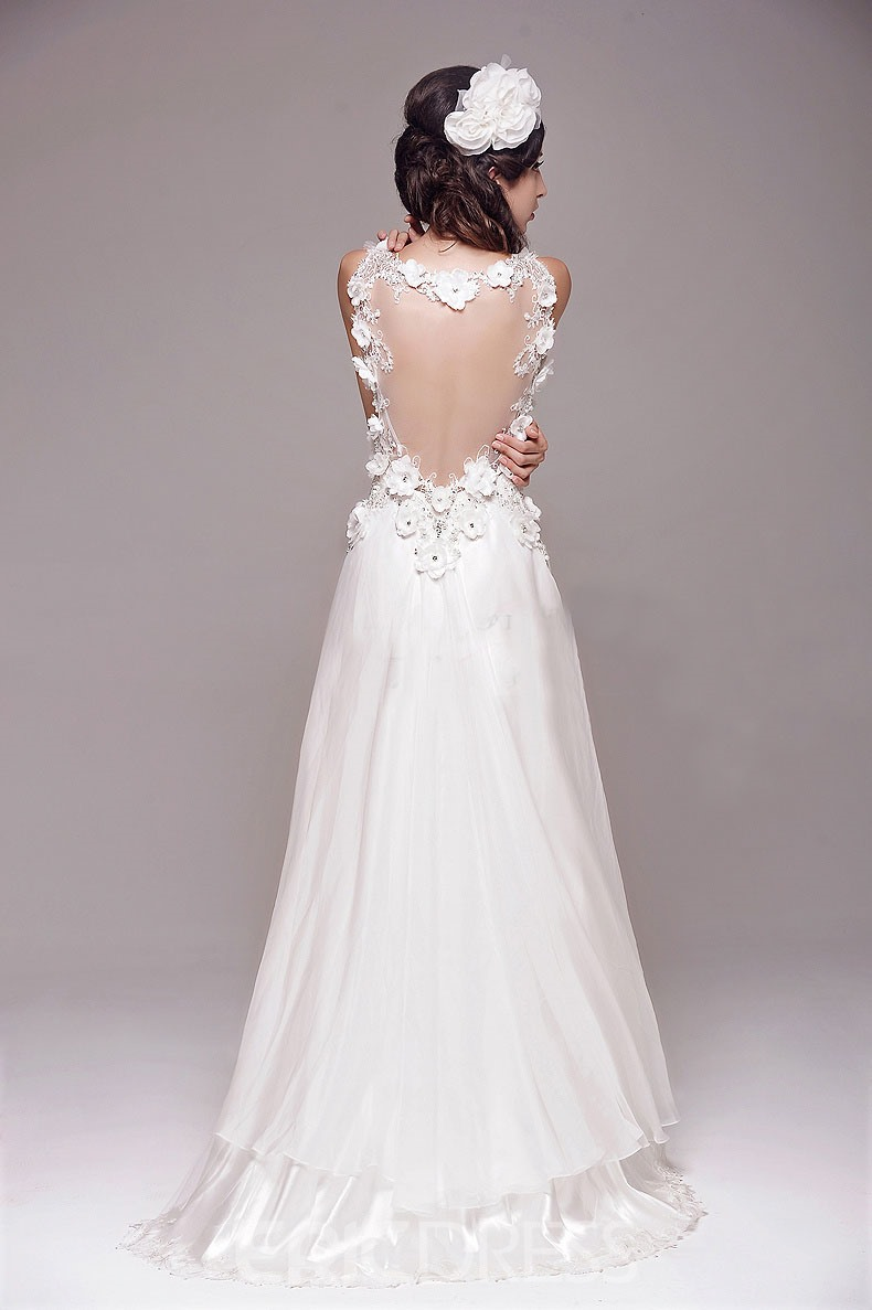 Ericdress Sexy A-Line V-Neck 3D Flowers Floor-Length Wedding Dress