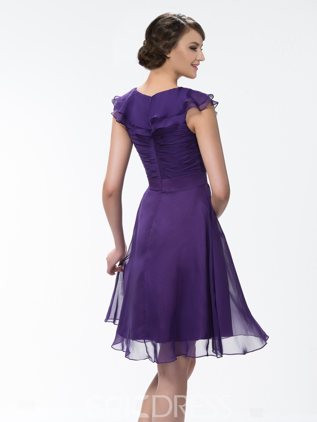 Beautiful Pure Color Knee Length Ruffles Cap Sleeve Bridesmaid Dress