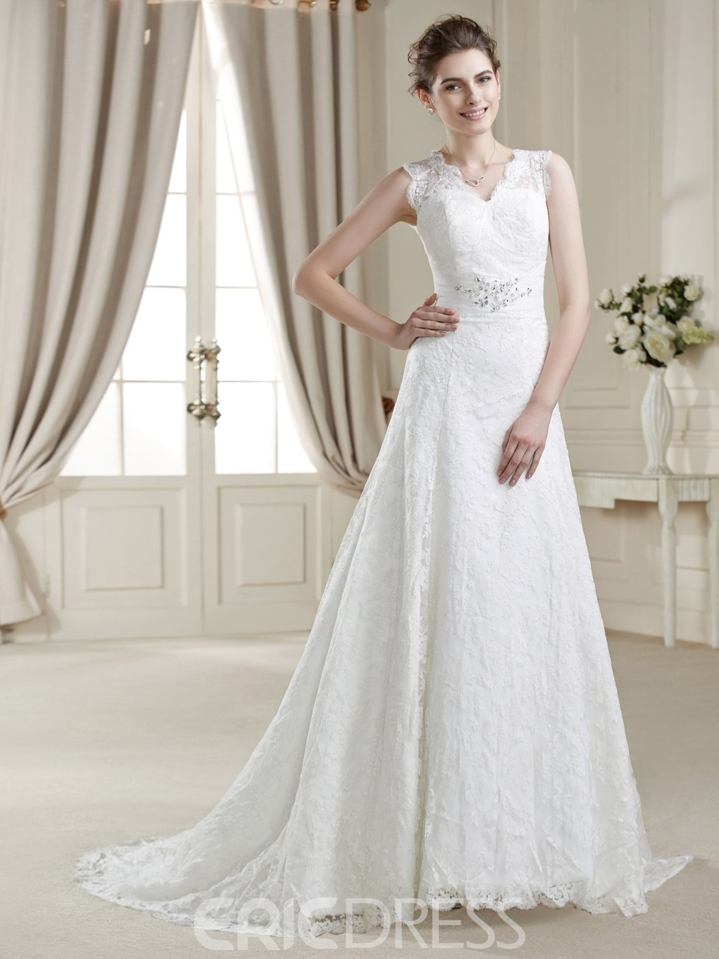 A-Line V-Neck Lace CourtTrain Charming Wedding Dress