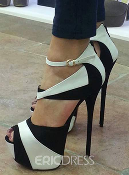 Fashionable Two-tone Black And White Stiletto Heel Open Toe Girl Pumps