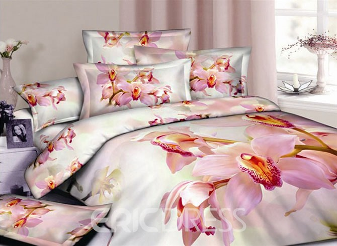 Pink Butterfly Orchid 100% Cotton Queen/King Size Bedding Sets 10892752