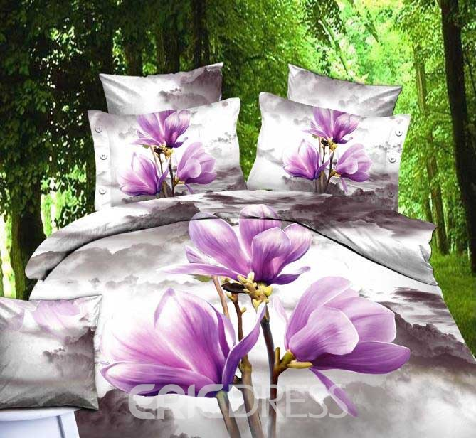 Only You Purple Flowers Fashion Queen/King Size Bedding Sets 10892848