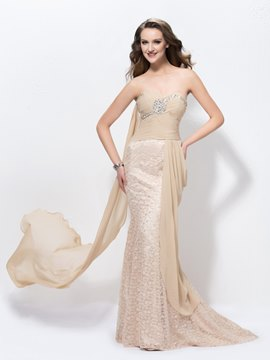 Mermaid Sweetheart Ribbon Beading Floor-Length Sweep-Train Charming Prom Dress