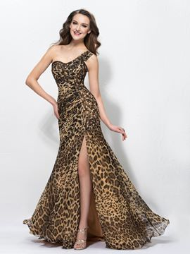 Sexy Leopard Print Gespaltete Front One-Shoulder Sweep/Pinsel bodenlanges Abendkleid