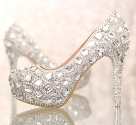 Ericdress Rhinestone Platform Stiletto Heel Slip-On Wedding Shoes