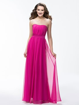 Cute Strapless A-Line Floor Length Ruffles Sash Prom Dress