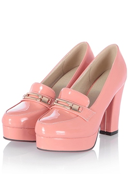 Metal Key-hole Chunky Heels Pink Shoes