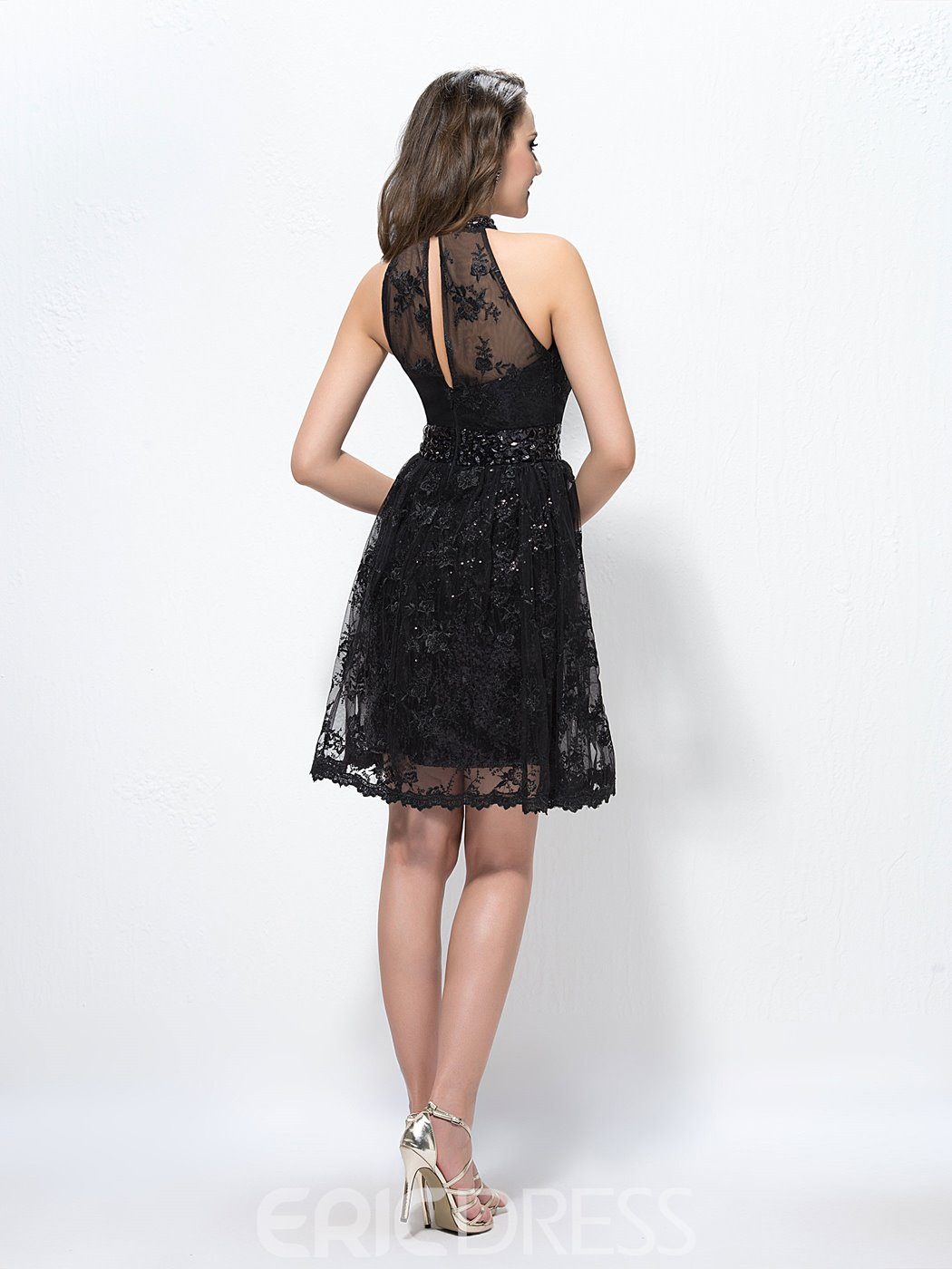 Stunning A-line High-Neck Lace Beading Cocktail Dress
