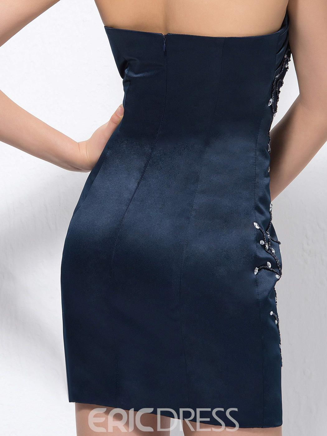 Sexy Mini Shealth Sweetheart Sequins Zipper-Up Cocktail Dress