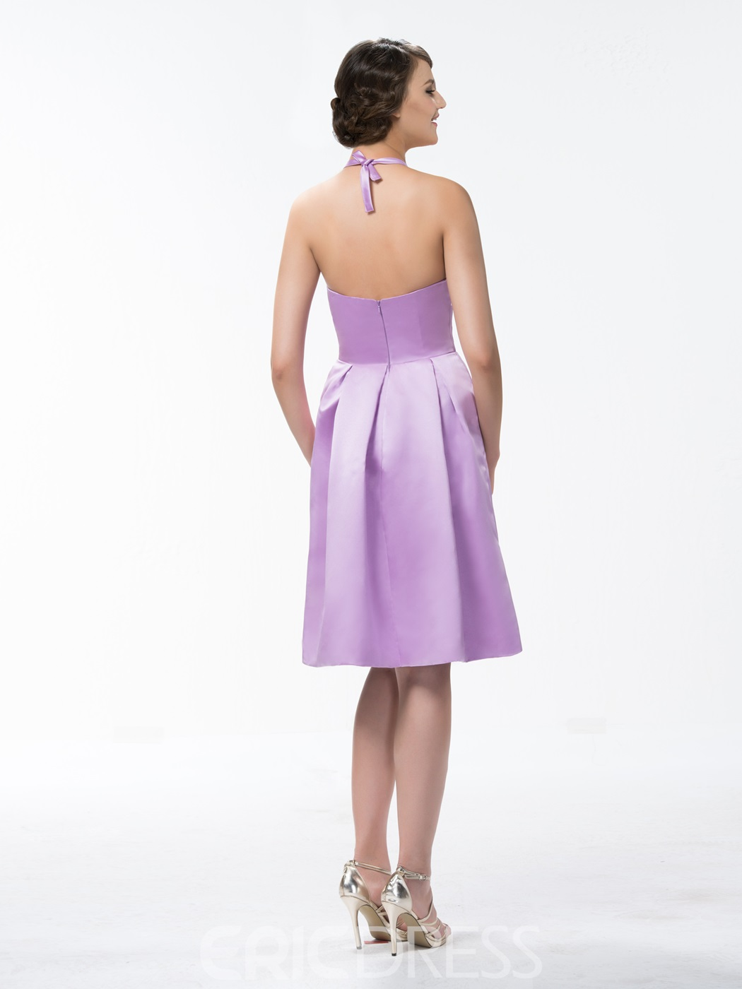 Concise A-Line Halter Knee-Length Zipper-Up Bridesmaid Dress
