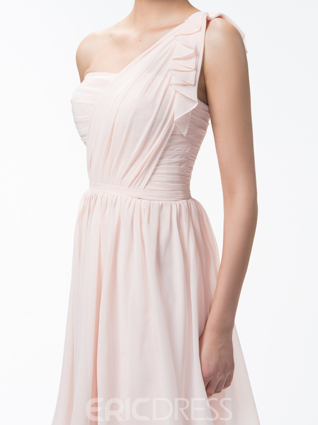 Cute One Shoulder A Line Short/Mini Ruffles Bridesmaid Dress