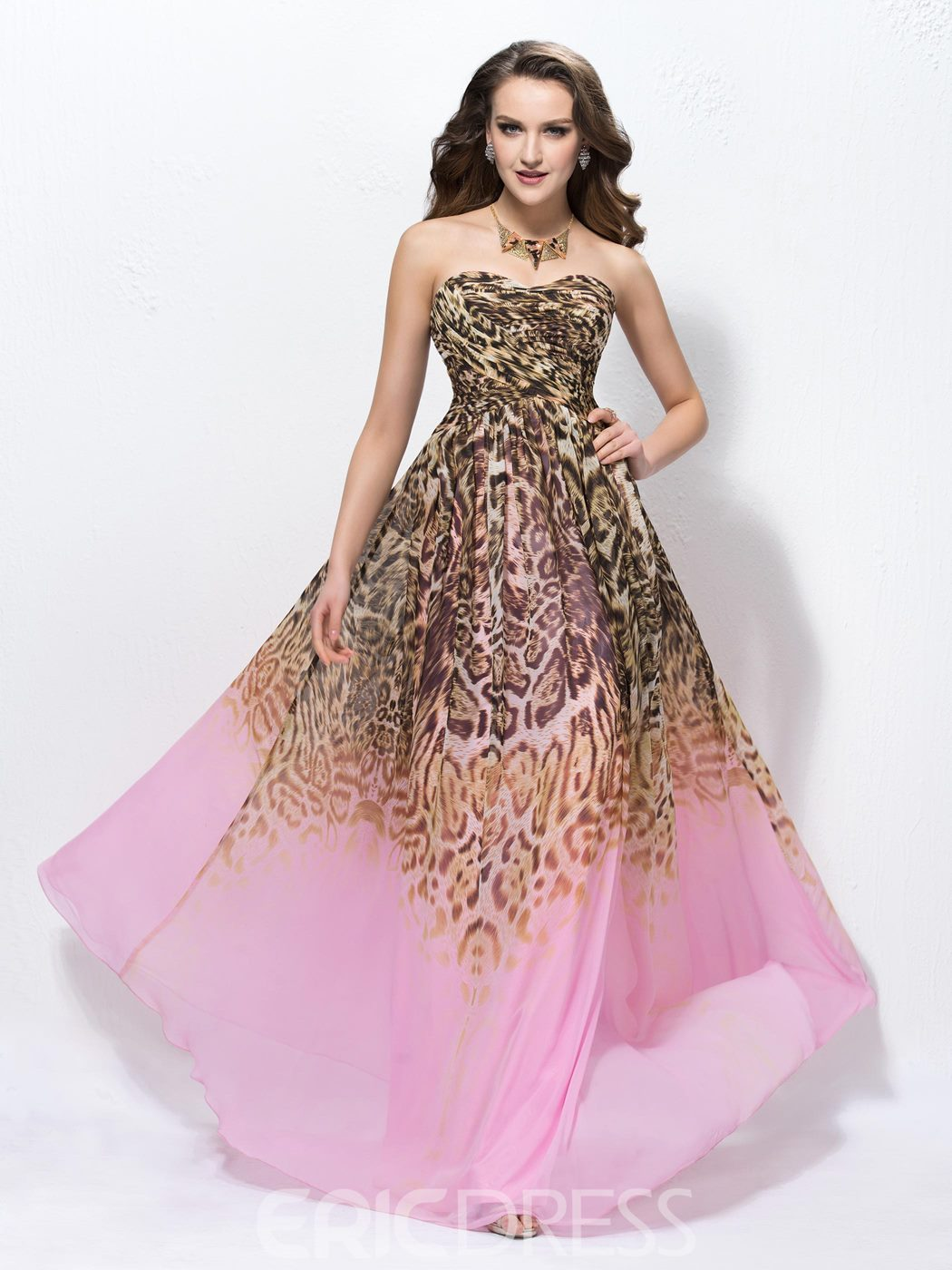Attractive A-line Floor-length Sweetheart Leopard Print Sleeveless ...