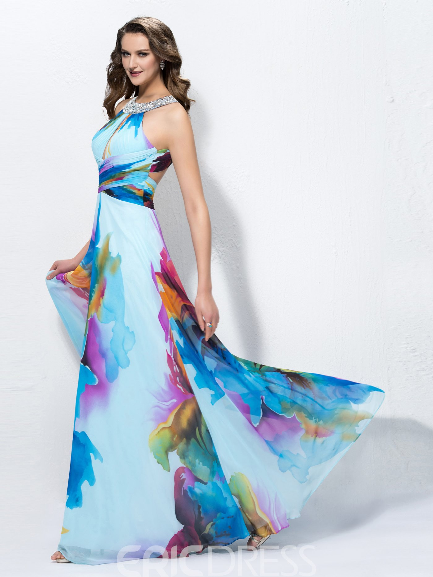 Ericdress Charming A-line Jewel Long Prom Dress With Sequin Beadings