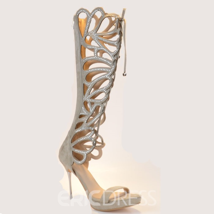 Sexy Butterfly Cut-Outs Lace-Up High Heeled Sandals