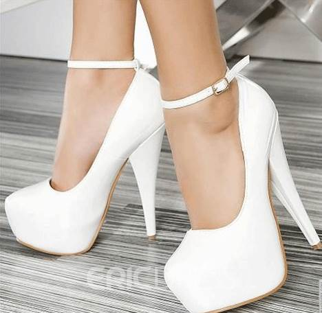 Elegant White Coppy Leather Platform High Heel Prom Shoes 10892501 ...