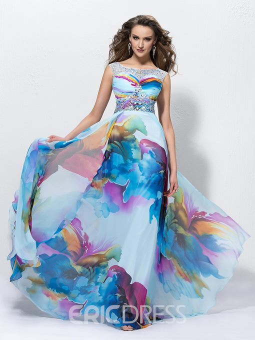 A-Line Beading Bateau Neckline Sweep Train Floor-Length Prom Dress ed Independently
