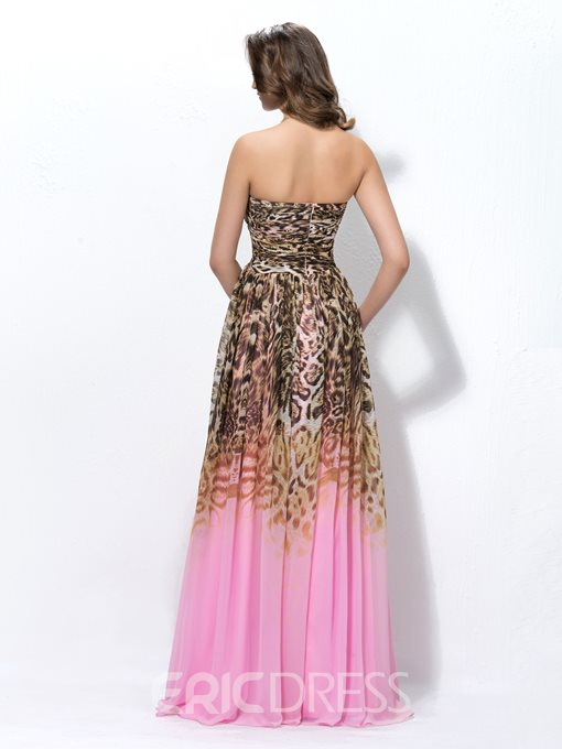 Attractive A-line Floor-length Sweetheart Leopard Print Sleeveless Prom Dress