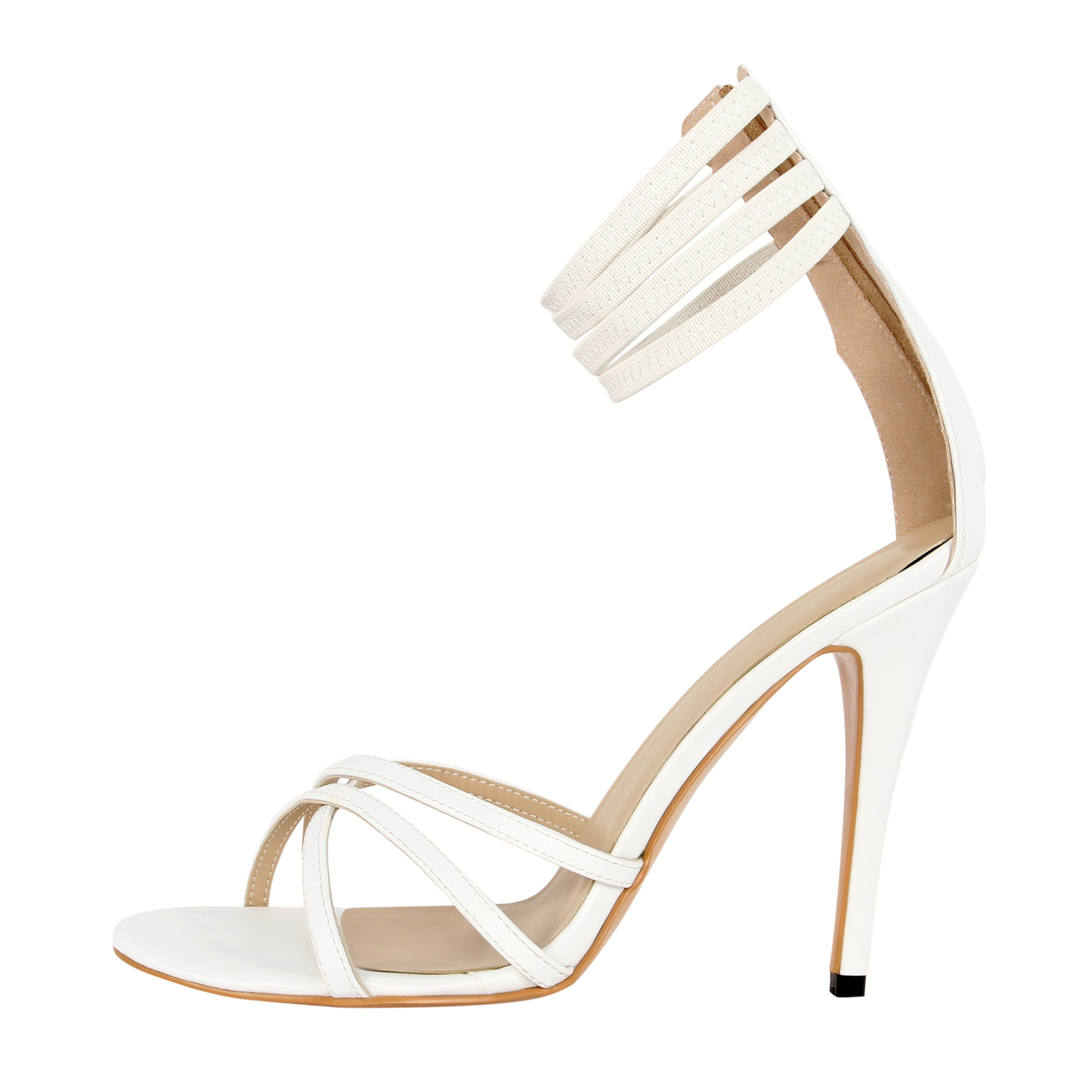 Elegant Crossed-ties Stiletto Sandals with Back Zipper