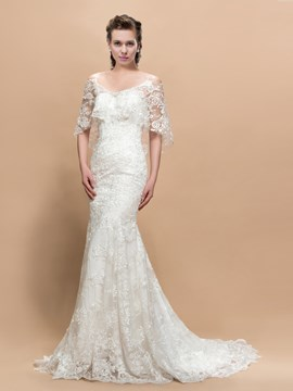 Comely Lace Trumpet Cap Sleeves Court Train Wedding Dress