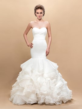 Attractive Sweetheart Mermaid Pleats Floor-Length Wedding Dress