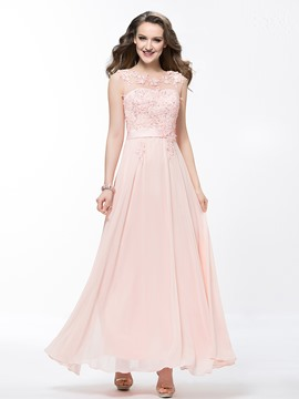 Charmante Scoop Applique Friesen Knöchel Länge Prom Kleid