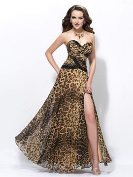 Ericdress Sexy A-line Split-Front Long Prom Dress In leopard Print