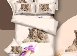 3D Tiger Cub and Bow Knot Printed Cotton 4-Piece Bedding Sets/Duvet Covers