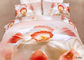 3D White Flower Printed Cotton 4-Piece Bedding Sets/Duvet Covers