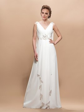 Elegent V-neck A-line Sleeveless Beading Wedding Dress