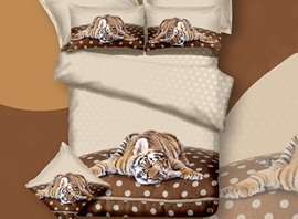 3D Sleepy Tiger Printed Cotton 4-Piece Bedding Sets/Duvet Covers