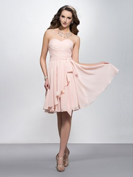 Sweetheart simple ruché châssis/rubans Zipper-up Homecoming robe