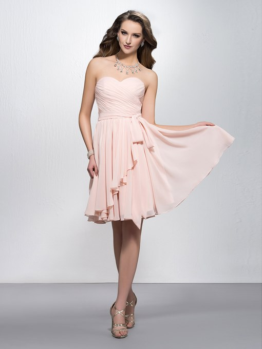 Simple Sweetheart Ruched Sashes/Ribbons Zipper-up Homecoming Dress