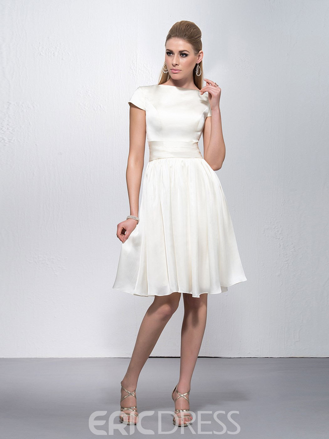 Elegant Bateau Neckline Short Sleeves Knee Length Zipper