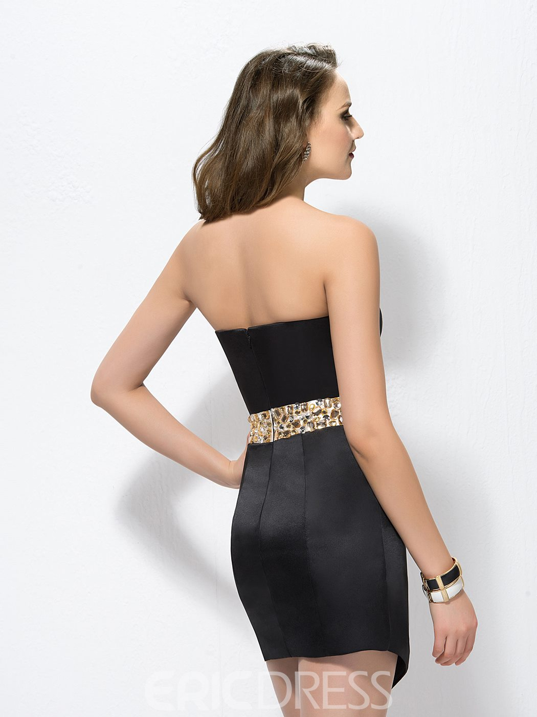 Glamorous Sweetheart Neck Zipper-Up Beaded Cocktail Dress
