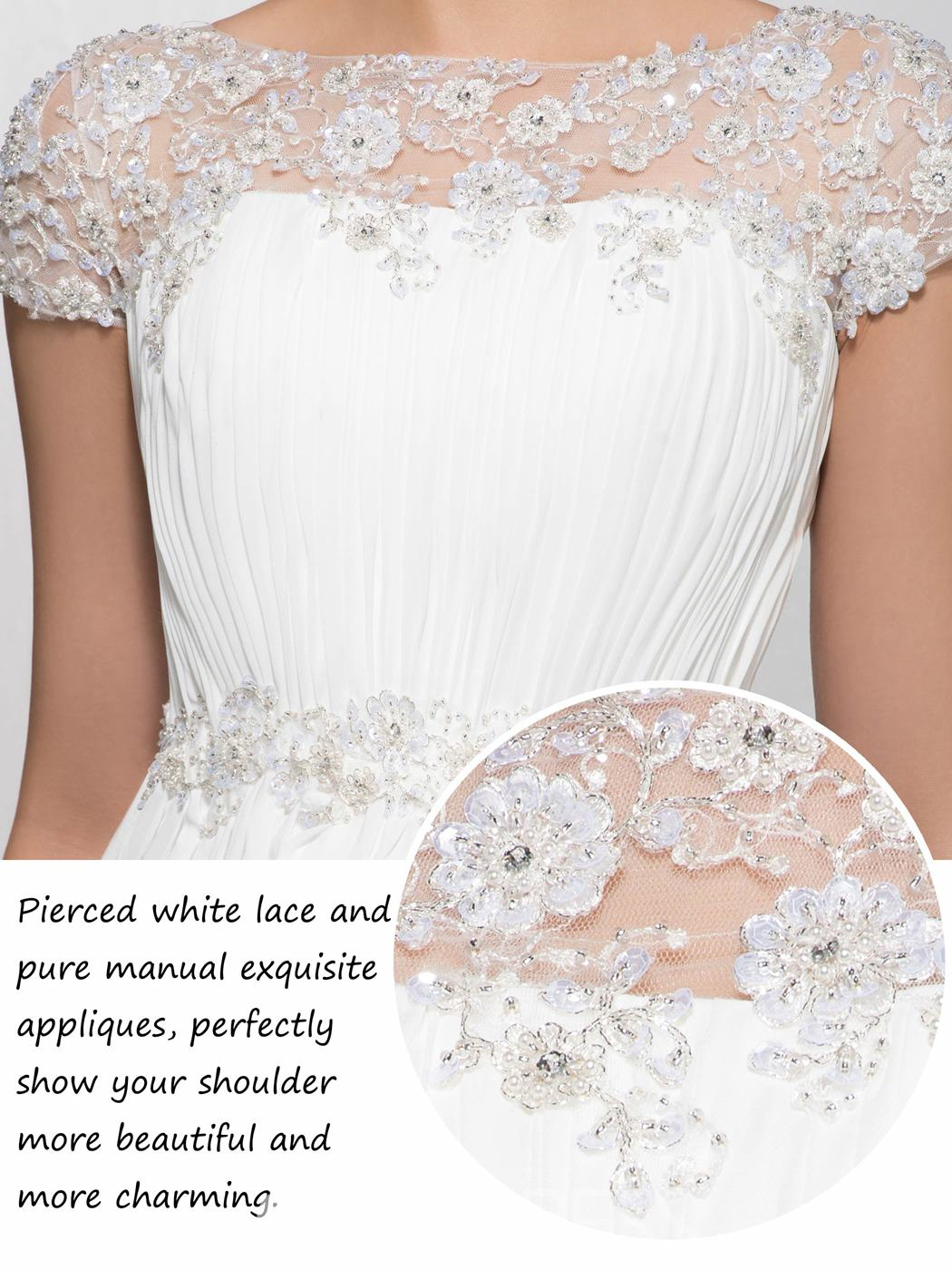 Fancy Appliques Bateau Neckline Court Train Short Sleeves Floor-Length Evening Dress