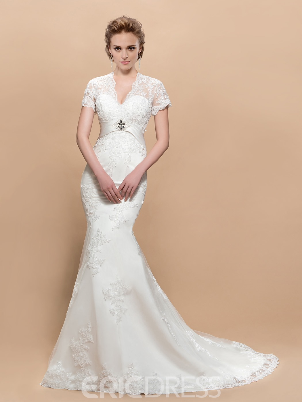 Fascinating V-neck Short Sleeves Trumpet Court Train Wedding Dress