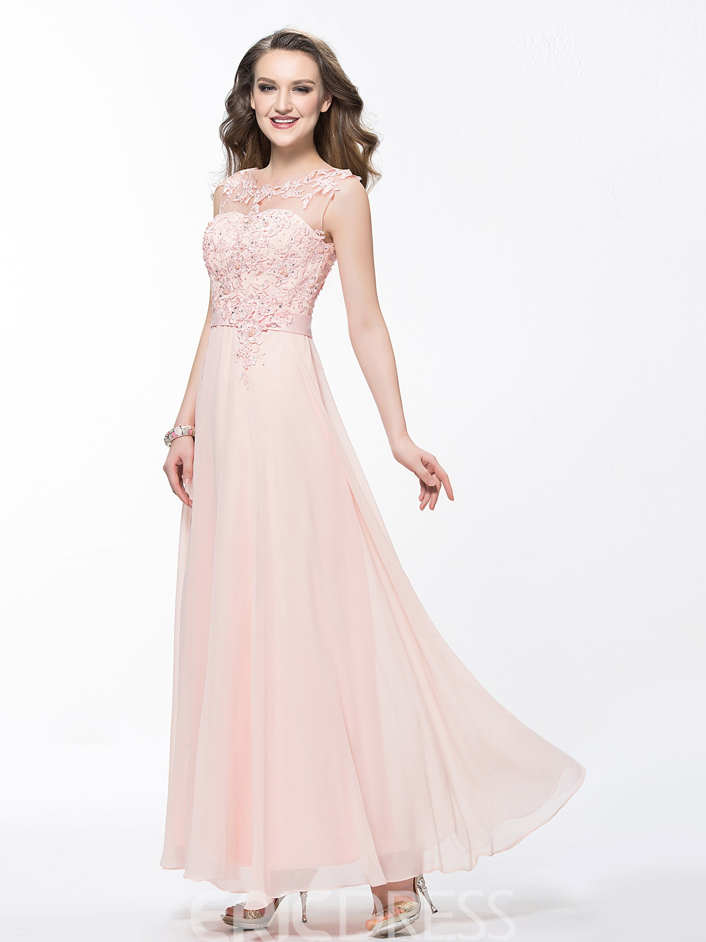Charming Scoop Applique Beading Ankle Length Prom Dress