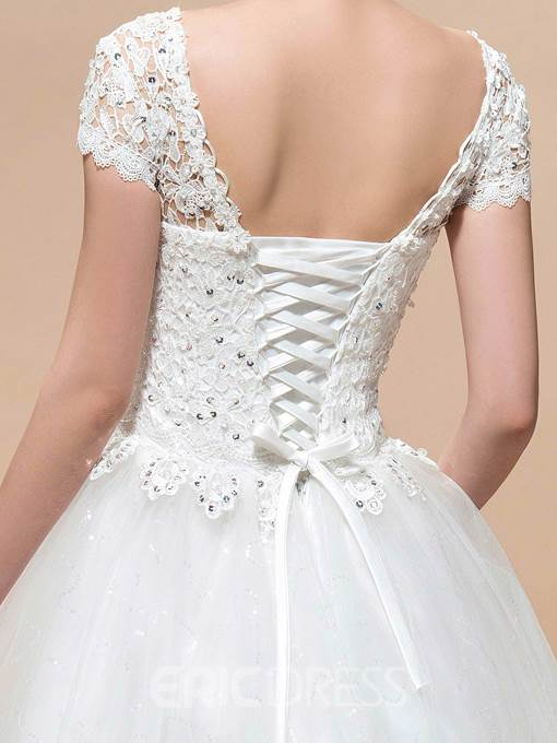 Charming A-Line Short Sleeves Scoop Lace Floor-Lengeh Wedding Dress