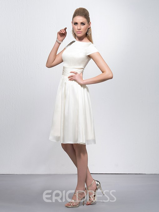 Elegant Bateau Neckline Short Sleeves Knee Length Zipper-Up Cocktail Dress