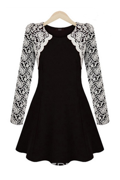 Ericdress Amazing Lace Patchwork Long Sleeve Casual Dress