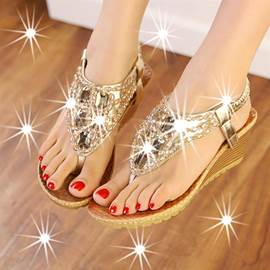 Bohemian Fashion Beads Wedge Sandals
