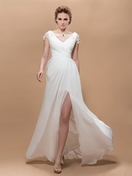 Graceful A-Line Cap-Sleeves Split- Front Floor-Length Evening Dress
